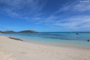 La spiaggia del Blue Lagoon Beach Resort, Nacula, Isole Yasawa, Figi. Autore e Copyright Marco Ramerini