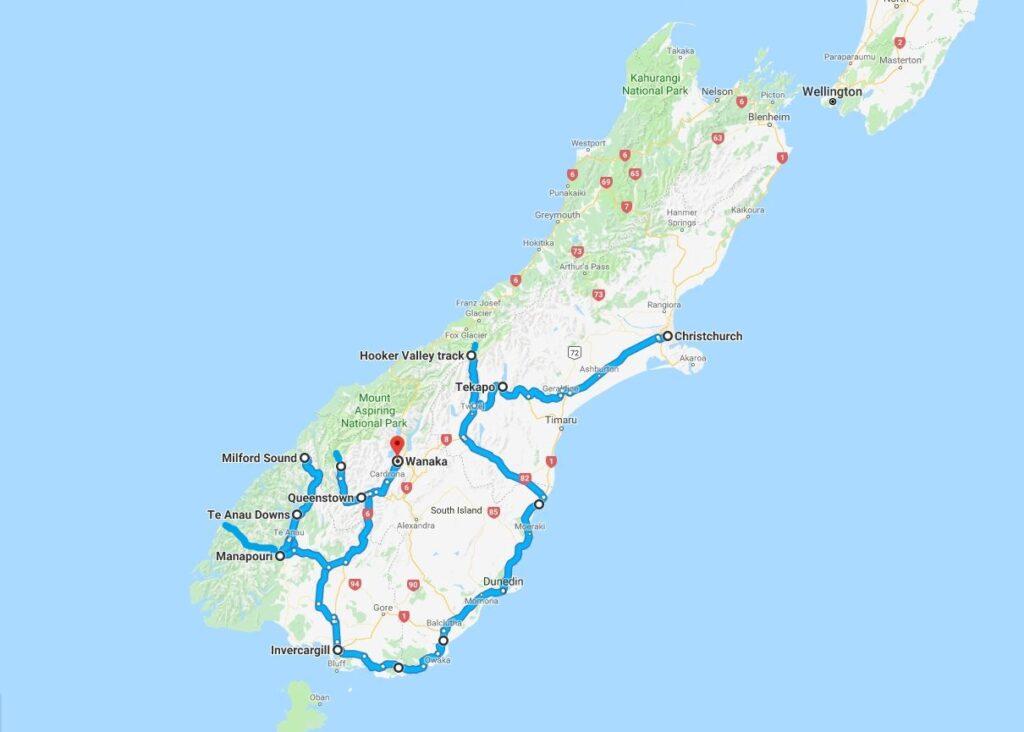 Mappa del viaggio in Nuova Zelanda